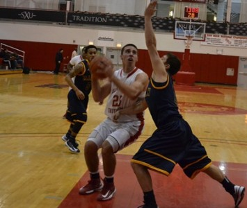 Junior Brad Karp had a game-best 24 points against Westminster College Friday