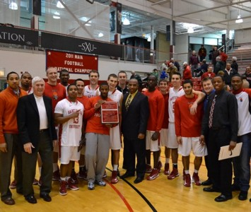 The SXU men's basketball team will take the No. 2 seed into next week's conference tournament