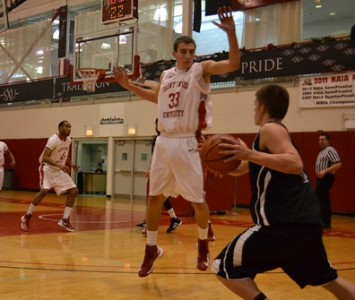 Sophomore Jack Krieger had four three-pointers en route to a 22 point night against Holy Cross Saturday
