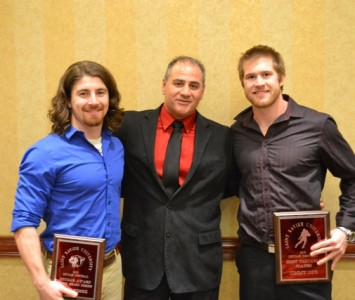 Coach Mike Feminis (middle) with 2012 Cougar Award winner Nick Pesek (left) and MVP Jimmy Coy (right)