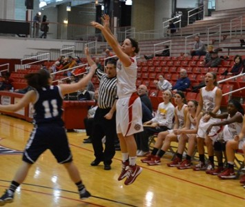 Senior Maureen Riley hit eight three-pointers for 24 points in SXU's win over Trinity Christian Wednesday night