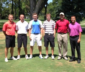 The first SXU men's golf recruiting class along with first year coach Mike Mandakas (far right)