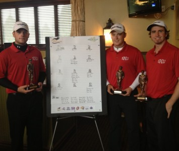 Kyle Bahnick (left) took first place Monday, while James Kerr (middle) and Zach Trent (right) took fourth place