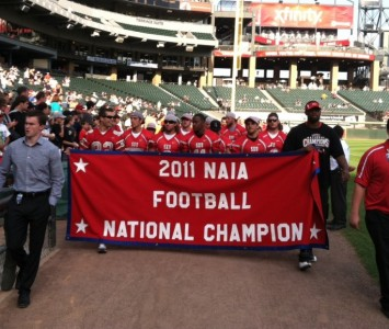The Saint Xavier football team was honored at U.S. Cellular Field Saturday prior to the White Sox game