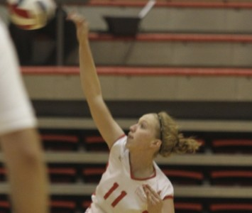 Sophomore Marie Hackert had eight kills and team-high four blocks Thursday against Trinity Christian