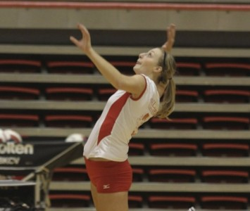 Senior Kayla Mullaney led Saint Xavier with 25 total kills on the weekend in Bellevue, Neb.
