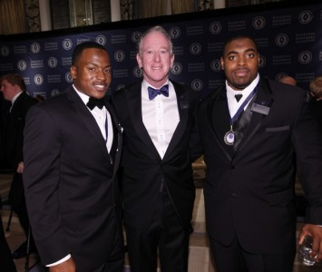 Shane Zackery (left) with NFF Chairman Archie Manning and fellow finalist Nabal Jefferson from NIU