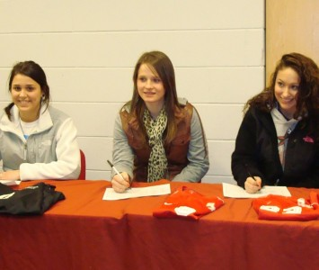 Danielle Koncius (left), Julia Gawlak (middle) and Gina Rodriguez (right) all signed with SXU women's soccer recently