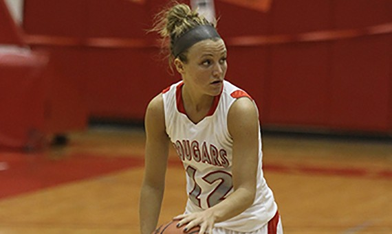 Senior Jordan Brandt drained all three of her three-pointers to help SXU win its regular season finale
