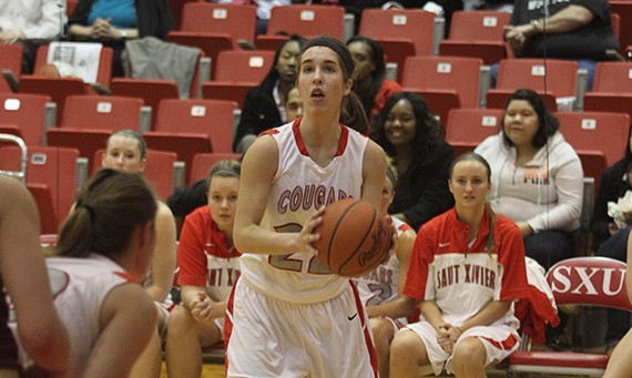 Junior Suzie Broski got her 1,000th career point at SXU in Friday's win over Huntington