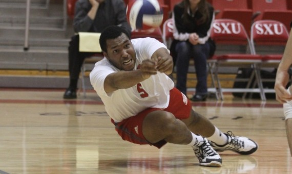 Senior Justin Cousin had a huge match for SXU totaling 12 kills and an attack percentage of .379