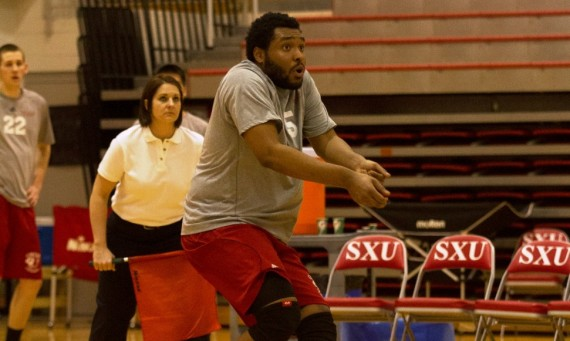 Senior Justin Cousin led the SXU attack Tuesday with 12 kills on Senior & Parent Night