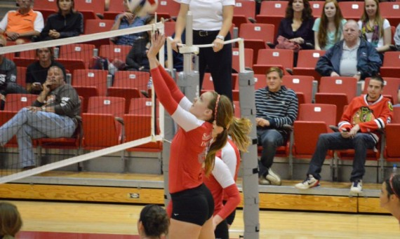 Sophomore Meghan Falsey had 10 kills Saturday against Indiana-South Bend