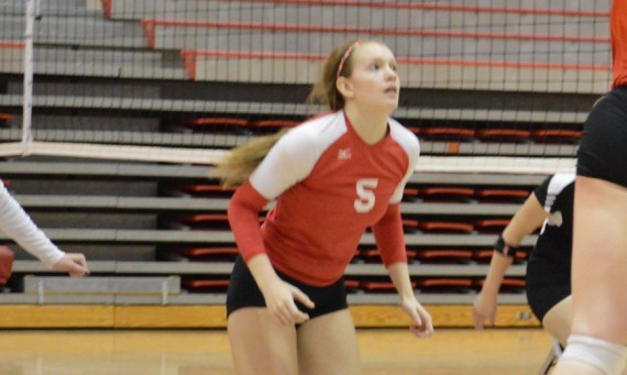 Sophomore Meghan Falsey hit career-highs with 14 kills and four aces Thursday