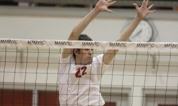 Senior J.T. O'Connell had six kills and eight total blocks in Thursday's match against No. 6 Saint Ambrose