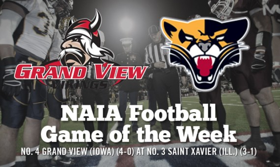 No. 4 Grand View (Iowa) at No. 3 Saint Xavier is this week's NAIA Football Game of the Week