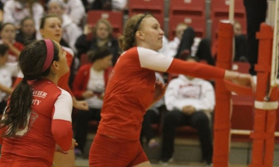 Junior Marie Hackert led the SXU attack Tuesday with seven kills