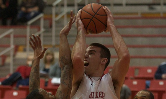Senior Brad Karp had another big night for SXU with 30 points and 10 rebounds against Stritch
