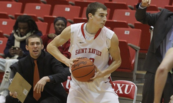 Junior Jack Krieger hit three three-pointers en route to 16 points in SXU's regular season finale