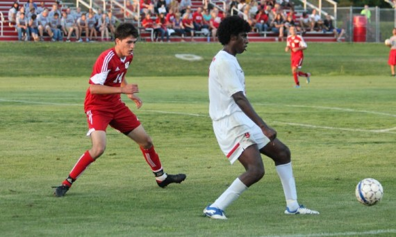Freshman defender Erik Diaz applies the defense in Saturday's game against No. 9 Rio Grande