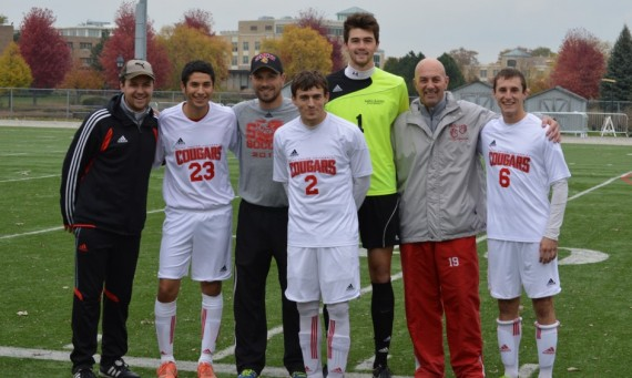 Ramon Diaz #23, James King #2, #1 Kyle Held and #6 Dale Judickas with the SXU coaching staff