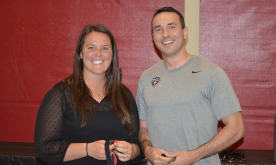 Senior Megan Nonnemacher and graduate student Spencer Nolen - 2014 Female and Male SXU Student-Athletes of the Year