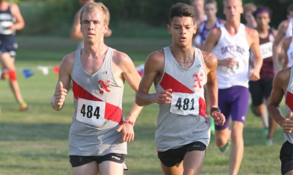 Senior Brian Meyer (left) and sophomore Eric Hancock (right) had nice races at the Brissman-Lundeen Invite