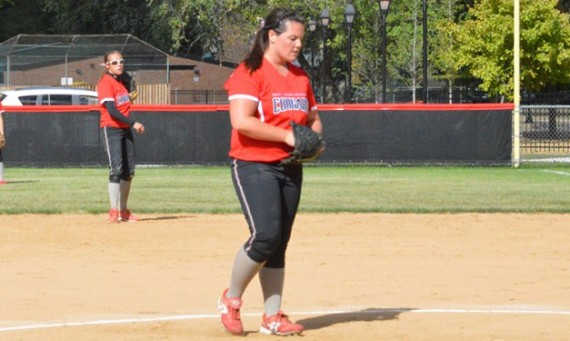 Senior Megan Nonnemacher had two shutouts wins and notched a new career-high with 14 strikeouts Saturday