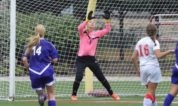 Freshman Alex Perry had 10 saves en route to her second career shutout Sunday against Holy Cross
