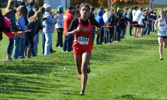 Junior Leslie Rosario qualified for Nationals at Saturday's CCAC Cross Country Championship