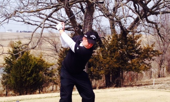 Senior Brendan Ryan tees off at the Blue Top Ridge Invitational in Riverside, Iowa, over the weekend