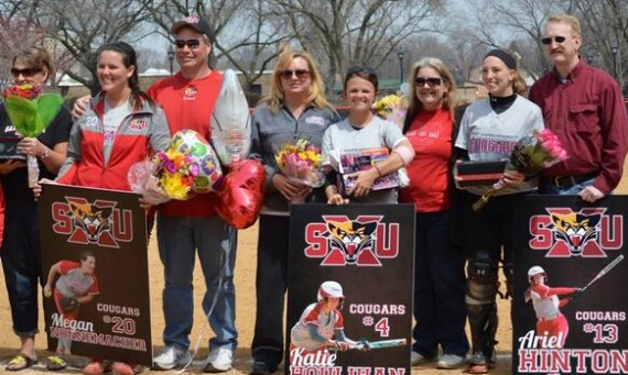 From left, seniors Megan Nonnemacher, Katie Houlihan and Ariel Hinton were honored on Senior Day