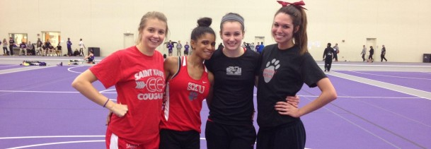 SXU's 4x800 meter relay team (from left):  Jordan Wallace, Leslie Rosario, Nicole Watkins and Dana Martin