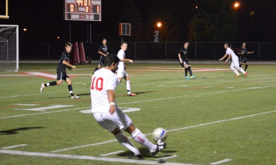 Junior Brandon Simoes scored a penalty kick goal for SXU in the 76th minute of play
