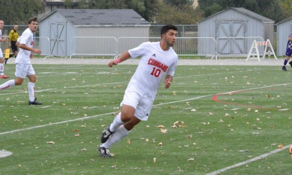 Junior Brandon Simoes scored SXU's first goal Tuesday against Robert Morris