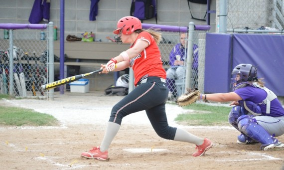 Junior Amanda Hainlen hit a two-run homer in game two against Olivet to lead to a 2-2 tie