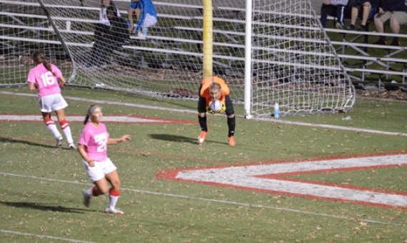 Freshman keeper Alex Perry had 10 saves on the night against TIU