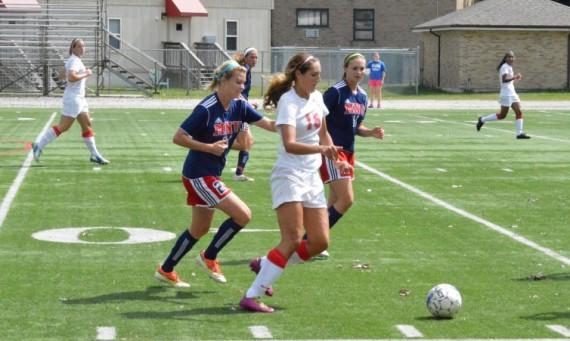 Sophomore Lexi Cozzi scored SXU's first goal Wednesday against Robert Morris