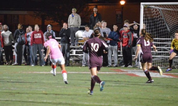 Freshman Mariana Hoerr (#2) had two first-half goals for Saint Xavier Tuesday