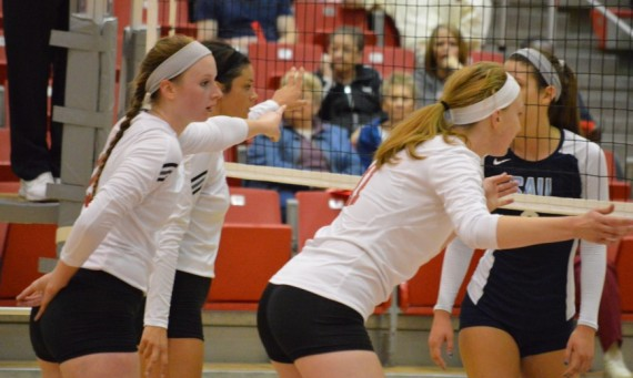 Juniors Kelli Shaffer (left) and Marie Hackert (right) had nice efforts against Saint Ambrose Friday