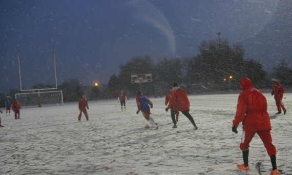 The SXU men's soccer team had its practice turned into a Winter Wonderland Monday
