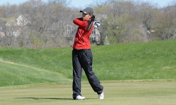 Freshman Hannah Cruz is tied for second place with a first round score of 81 Monday at the CCAC Women's Golf Championships
