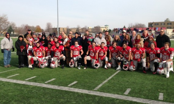 The 15 seniors on the 2014 SXU Football Team and their families were recognized Saturday for Senior Day