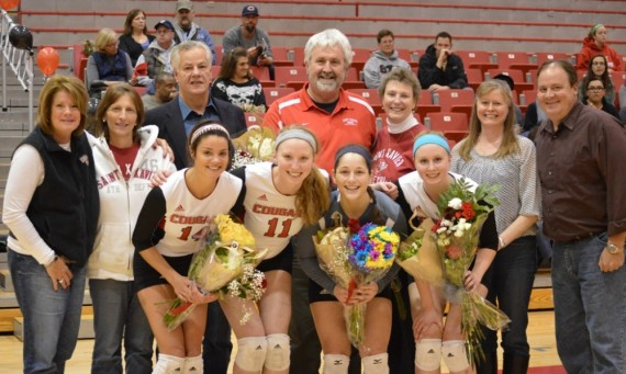 Seniors Jessica Galotta, Marie Hackert, Dominique Aramburu and Kelli Shaffer with their familes
