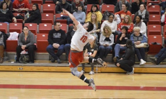 Sophomore Sean Barry had 10 kills and four aces for SXU in Thursday's win over Cincinnati Christian