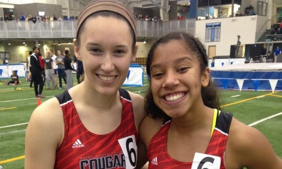 Freshman Rachal Brooks (right) surpassed her old school record times in the 200 and 400 meter dash Saturday