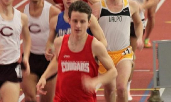 Senior Brian Corcoran set a new school record time of 8:36.04 in the 3000 meter run at the national indoor meet