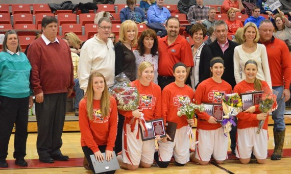 The 2014-15 SXU Women's Basketball Senior Class and their families were honored Saturday