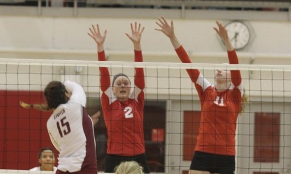 Seniors Marie Hackert (#11) and Kelli Shaffer (#2) both earned spots on the 2014 All-CCAC Volleyball Team