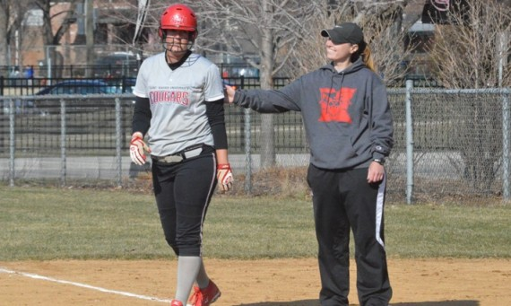 Senior Amanda Hainlen hit two homers in a 7-0 game two win over William Penn Friday